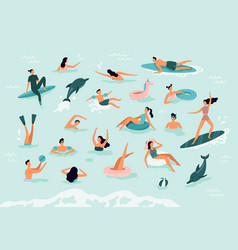 sea swimming active people diving swim with vector image