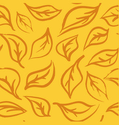 Seamless foliage pattern hand draw leaf vector