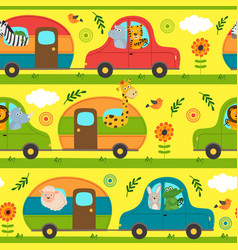 Seamless pattern with traveling animals vector
