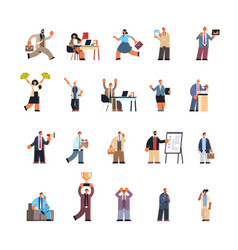 Set business people in different working vector