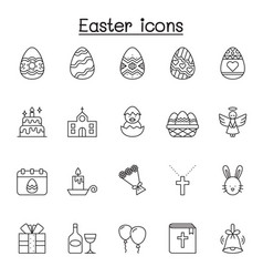 set easter related line icons contains such vector image