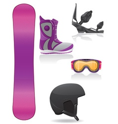 set icons equipment for snowboarding vector image