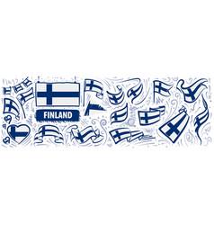 set national flag finland in vector image