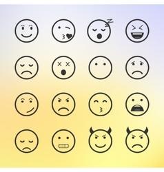 Set of green Emoticons Emoji and Avatar vector image