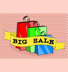 shopping bags packages and words big sale on pink vector image