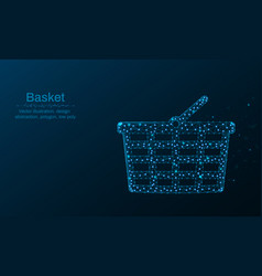 shopping basket made by points and lines vector image