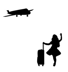silhouette girl standing with suitcase waiting for vector image