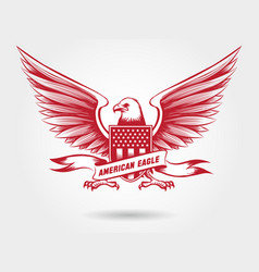 Sketched american eagle emblem design vector
