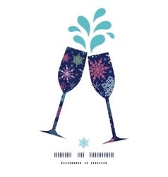 Snowflakes on night sky toasting wine glasses vector