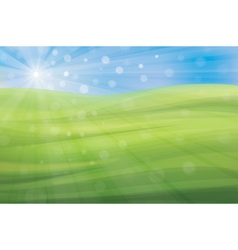 Spring background blue sky and green grass vector