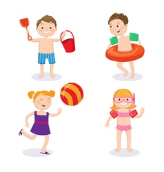 Summer vacation concept happy kids having fun vector