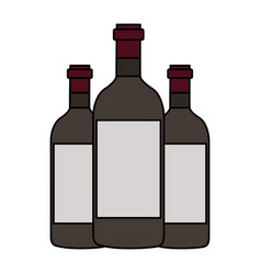 three wine bottles vector image