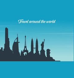 Tour on the world travel collection vector