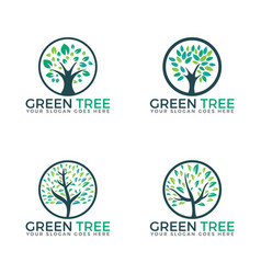 tree set logos design vector image