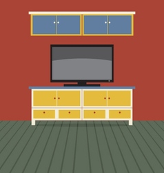 TV Shelf With Wall Cabinet vector