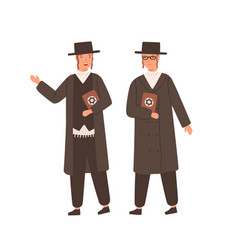 Two orthodox jews in traditional clothes and hat vector