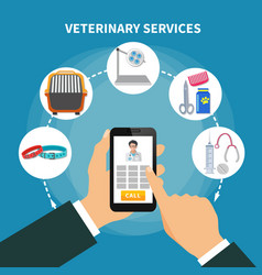 Veterinary service flat composition vector