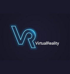 vr neon logo virtual reality neon banner on dark vector image