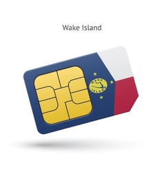 Wake Island mobile phone sim card with flag vector