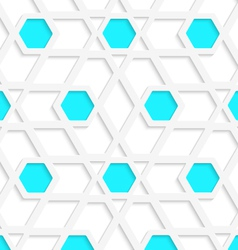 White geometrical detailed with blue hexagons gray vector image