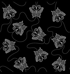 White lace seamless pattern with butterflies vector