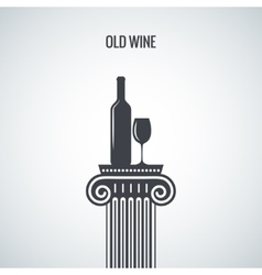 Wine bottle glass classic design background vector