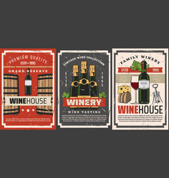 wine bottles glasses barrels and grape vine vector image