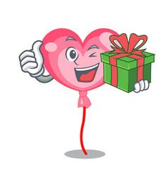 With gift ballon heart mascot cartoon vector