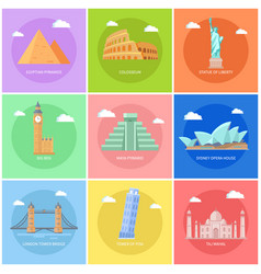 world famous attractions square promo banners set vector image