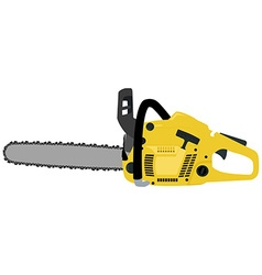 Yellow realistic chainsaw vector
