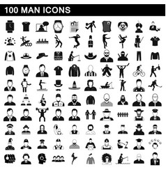 100 man icons set simple style vector image