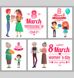 8 march womens day poster set vector image vector image