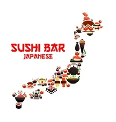 Seafood sushi in shape of japan map vector