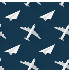 Seamless background with airplanes modern flat vector image