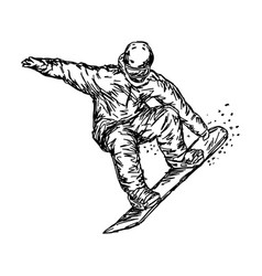 snowboarder jumping sketch hand vector image vector image