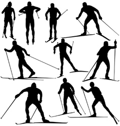 Cross country skier silhouettes vector image vector image