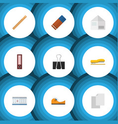 Flat icon tool set of duct date block dossier vector
