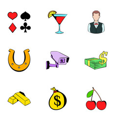 fortune icons set cartoon style vector image vector image