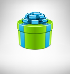 green gift box with blue bow vector image