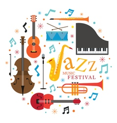 Jazz Music Instruments Objects Label vector image vector image