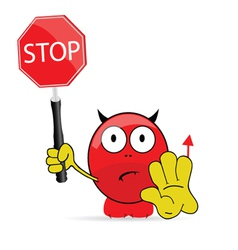 sweet and cute devil with sign stop vector image vector image