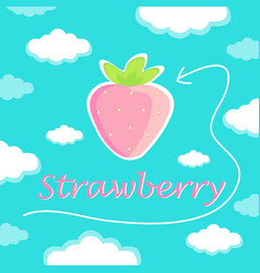 Beautiful pink strawberry against the sky with cl vector