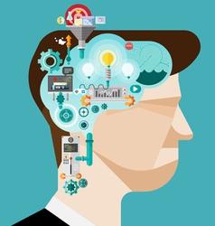 Brainstorming businessman create idea vector image vector image