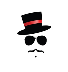face with mustache and hat vector image