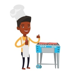 Man cooking meat on gas barbecue grill vector