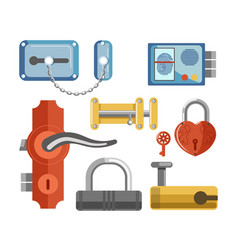 metal locks for permises protection isolated vector image