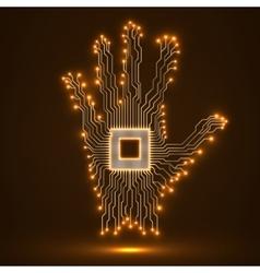 Neon hand Cpu Circuit board vector image vector image