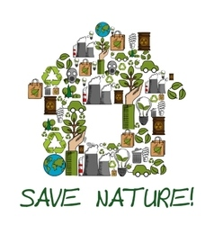Save Nature ecology environment protection label vector image vector image