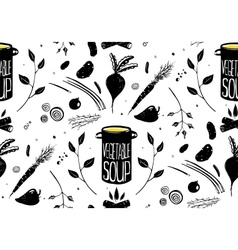 Seamless Pattern Vegetable Soup in Black vector image vector image