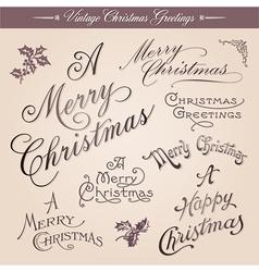 Vintage Christmas greetings vector image